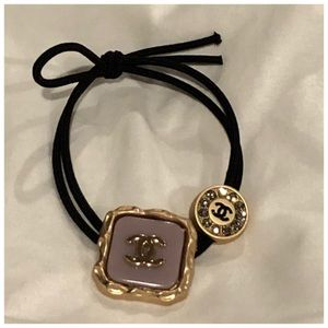 Authentic CHANEL VIP HAIR TIE WITH STONES